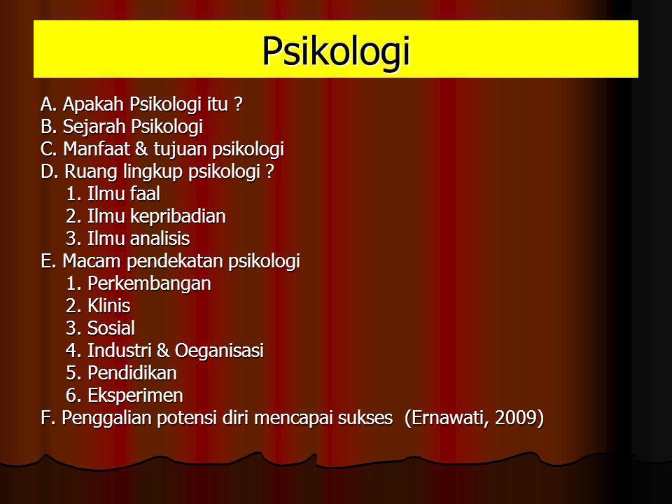 Psikologi A. Apakah Psikologi itu B. Sejarah Psikologi