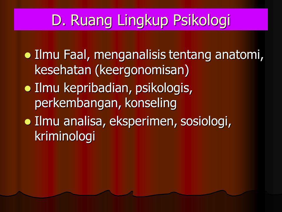 D. Ruang Lingkup Psikologi
