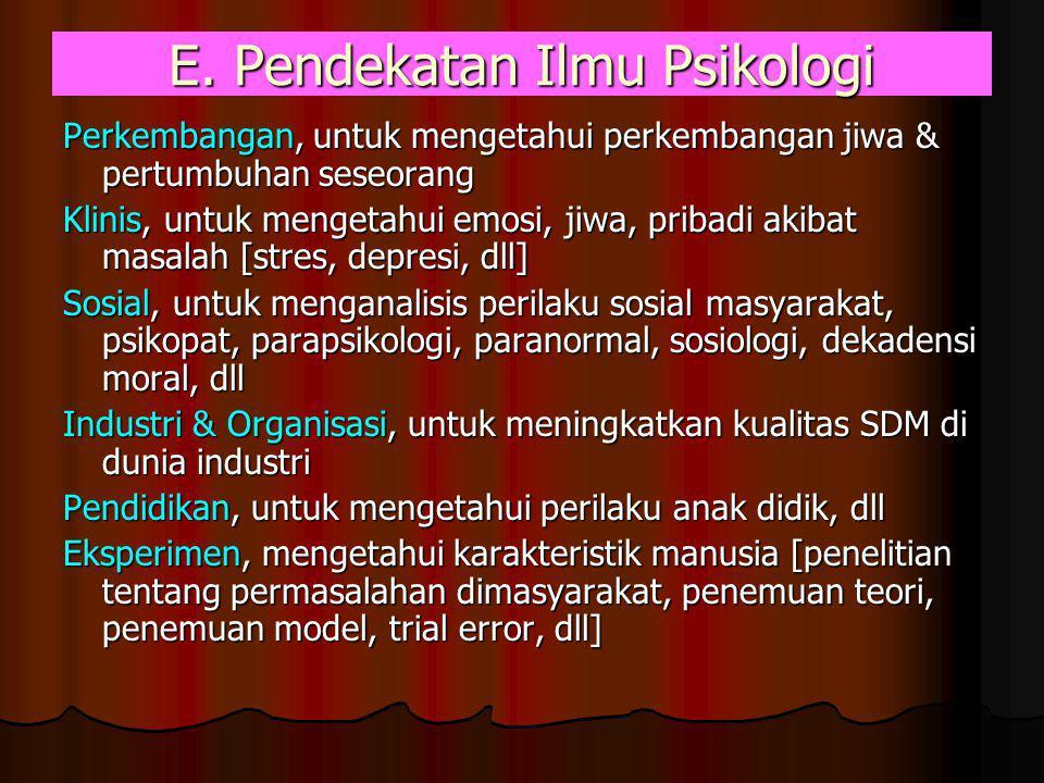 E. Pendekatan Ilmu Psikologi