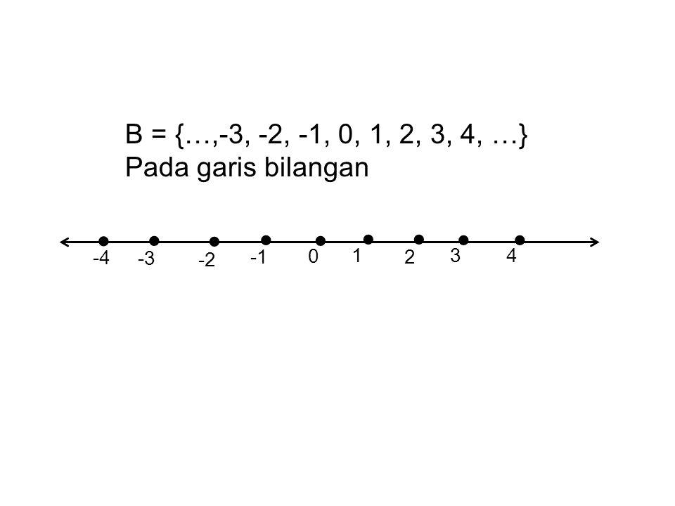 B = {…,-3, -2, -1, 0, 1, 2, 3, 4, …} Pada garis bilangan       