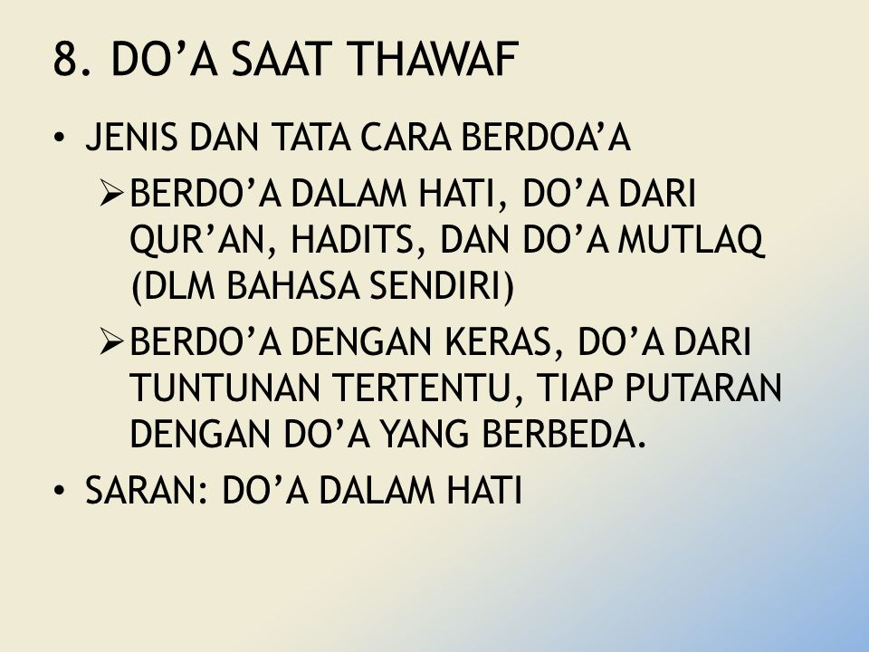 8. DO'A SAAT THAWAF JENIS DAN TATA CARA BERDOA'A