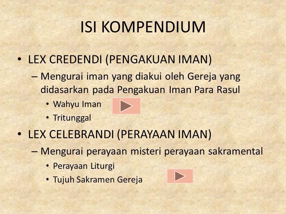 ISI KOMPENDIUM LEX CREDENDI (PENGAKUAN IMAN)