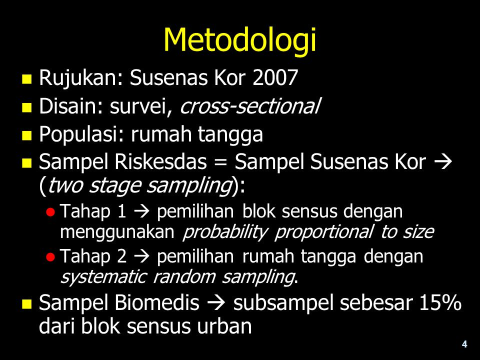 Metodologi Rujukan: Susenas Kor 2007 Disain: survei, cross-sectional