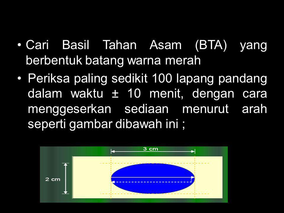 Cari Basil Tahan Asam (BTA) yang berbentuk batang warna merah