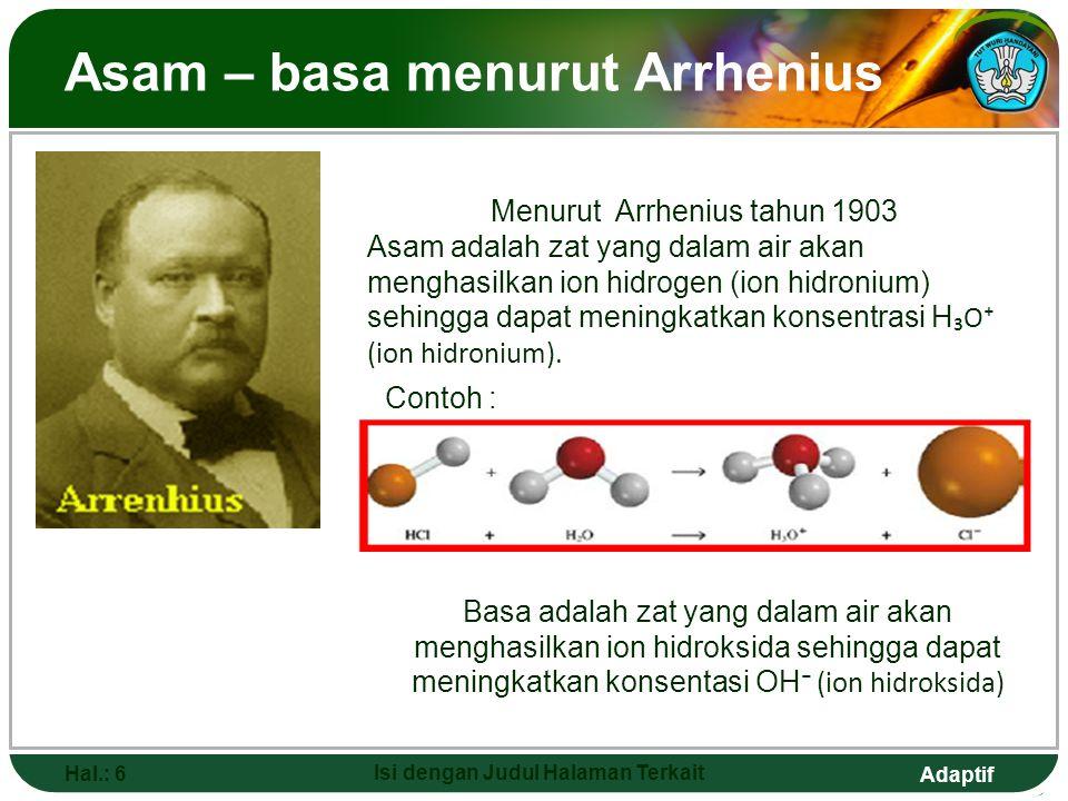 Asam – basa menurut Arrhenius