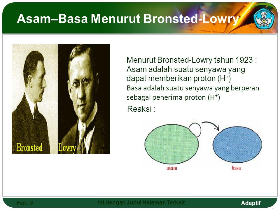Asam–Basa Menurut Bronsted-Lowry