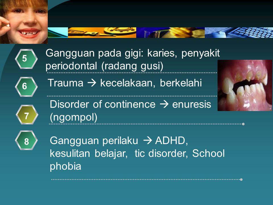Gangguan pada gigi: karies, penyakit periodontal (radang gusi)