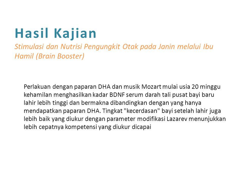 Hasil Kajian Stimulasi dan Nutrisi Pengungkit Otak pada Janin melalui Ibu Hamil (Brain Booster)