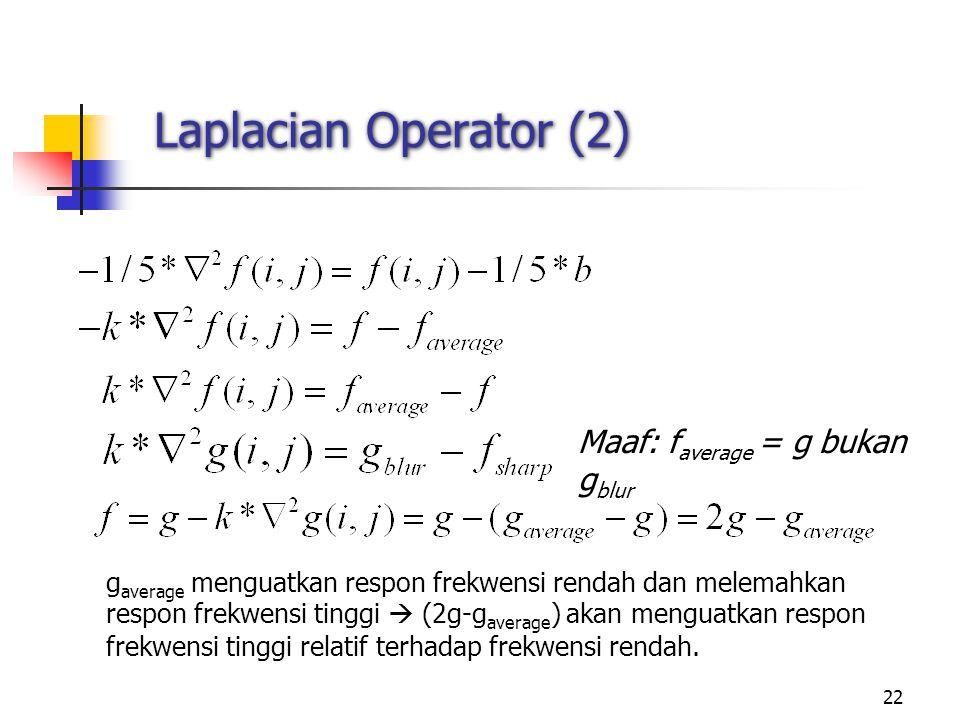 Laplacian Operator (2) Maaf: faverage = g bukan gblur