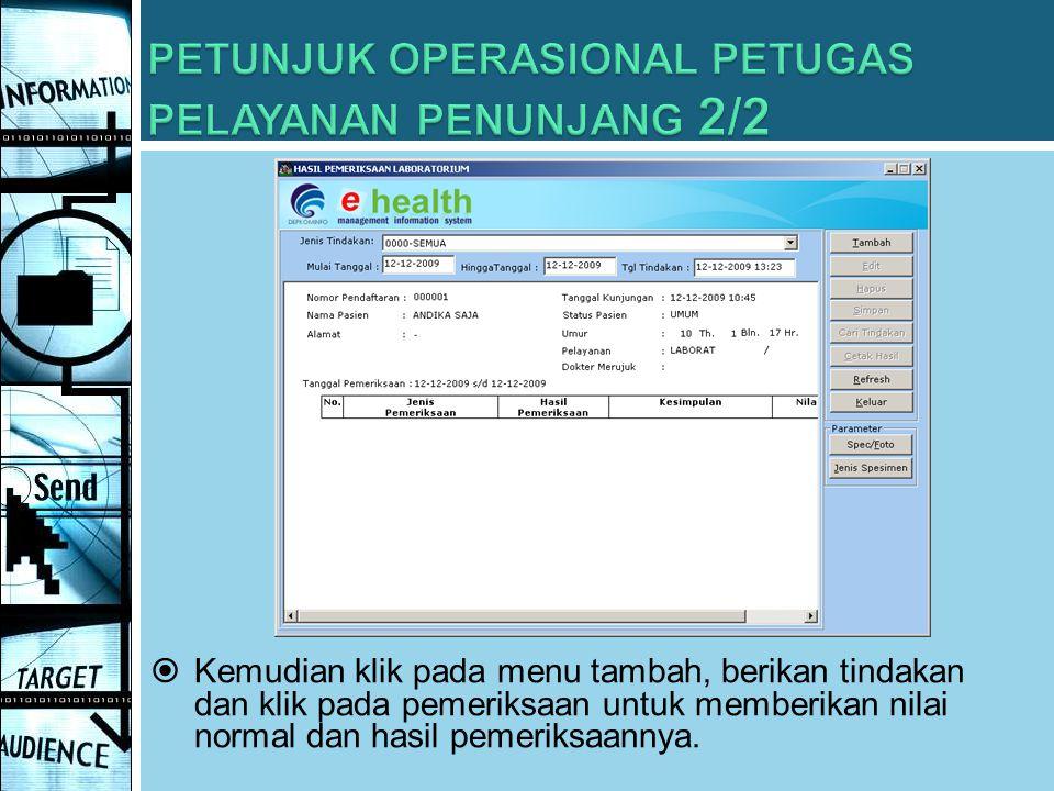 PETUNJUK OPERASIONAL PETUGAS PELAYANAN PENUNJANG 2/2