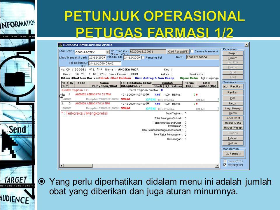 PETUNJUK OPERASIONAL PETUGAS FARMASI 1/2