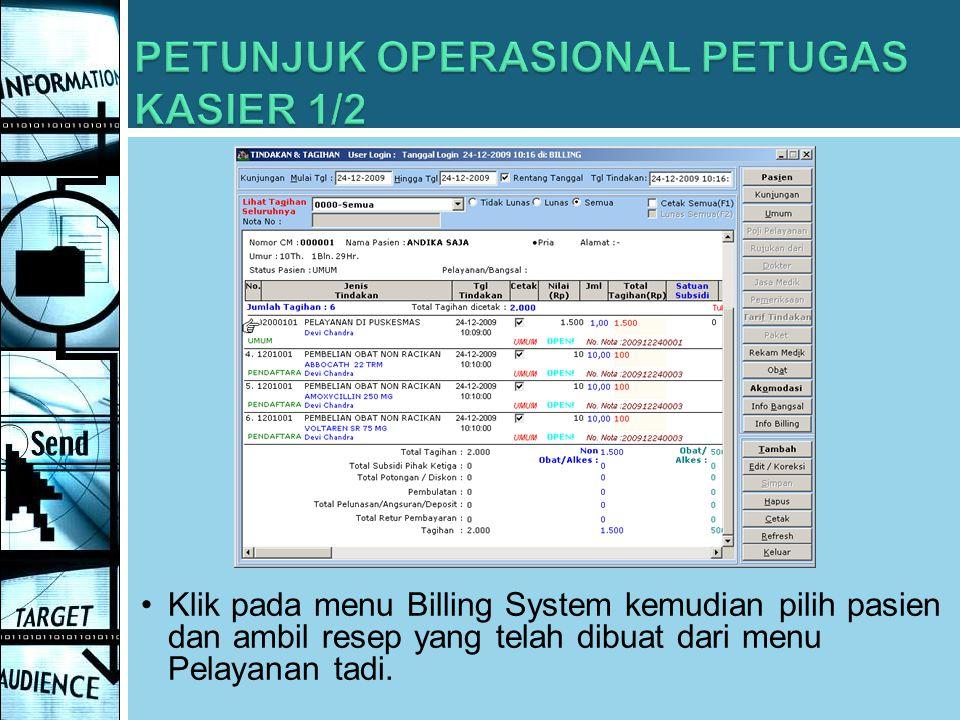 PETUNJUK OPERASIONAL PETUGAS KASIER 1/2