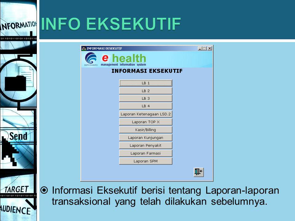 INFO EKSEKUTIF Informasi Eksekutif berisi tentang Laporan-laporan transaksional yang telah dilakukan sebelumnya.