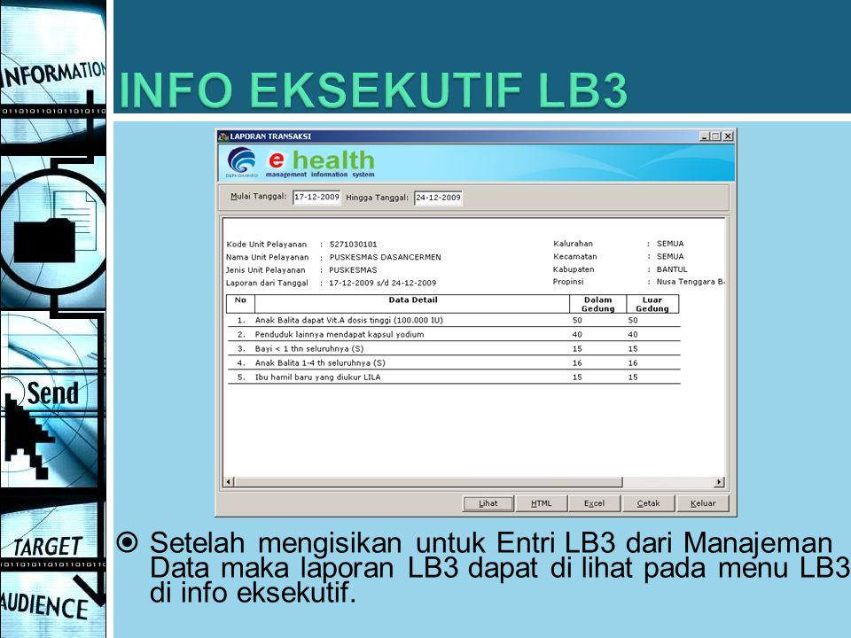 INFO EKSEKUTIF LB3 Setelah mengisikan untuk Entri LB3 dari Manajeman Data maka laporan LB3 dapat di lihat pada menu LB3 di info eksekutif.