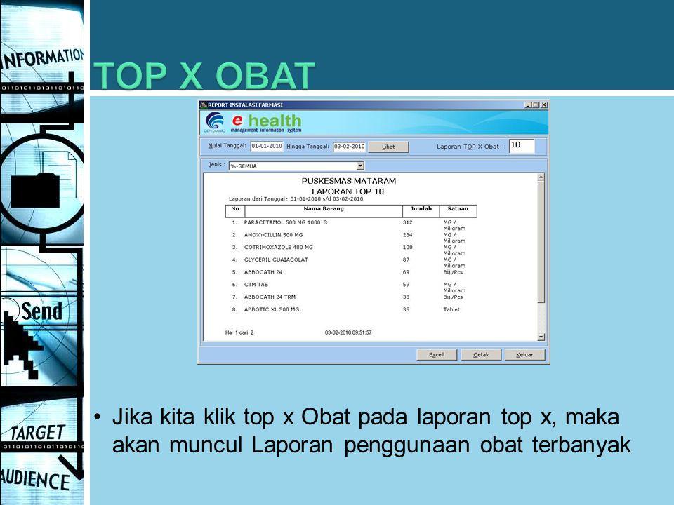 TOP X OBAT Jika kita klik top x Obat pada laporan top x, maka akan muncul Laporan penggunaan obat terbanyak.