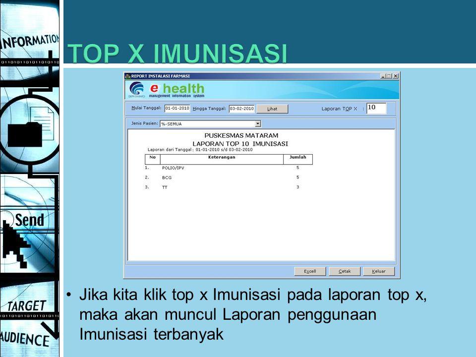 TOP X IMUNISASI Jika kita klik top x Imunisasi pada laporan top x, maka akan muncul Laporan penggunaan Imunisasi terbanyak.