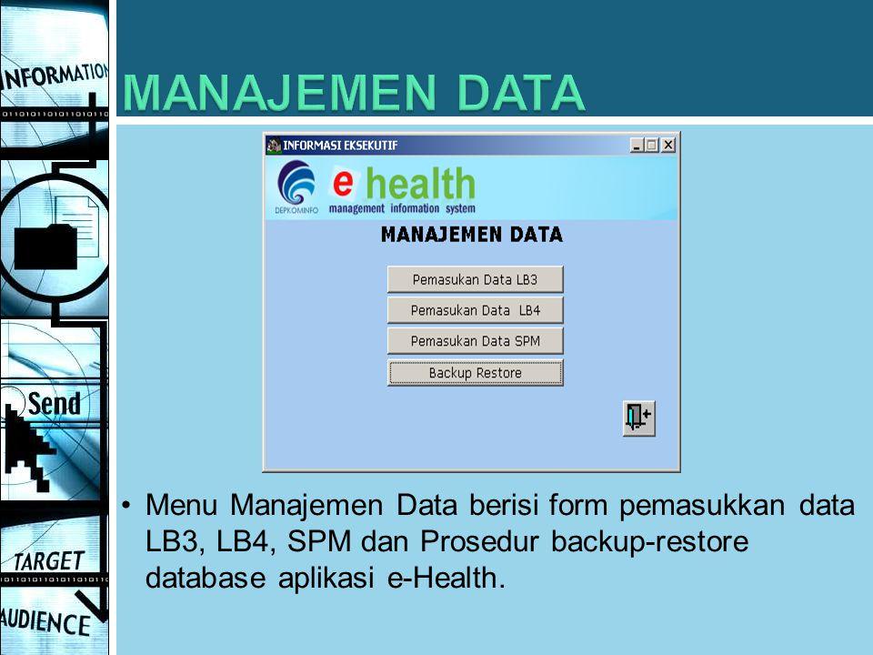 MANAJEMEN DATA Menu Manajemen Data berisi form pemasukkan data LB3, LB4, SPM dan Prosedur backup-restore database aplikasi e-Health.