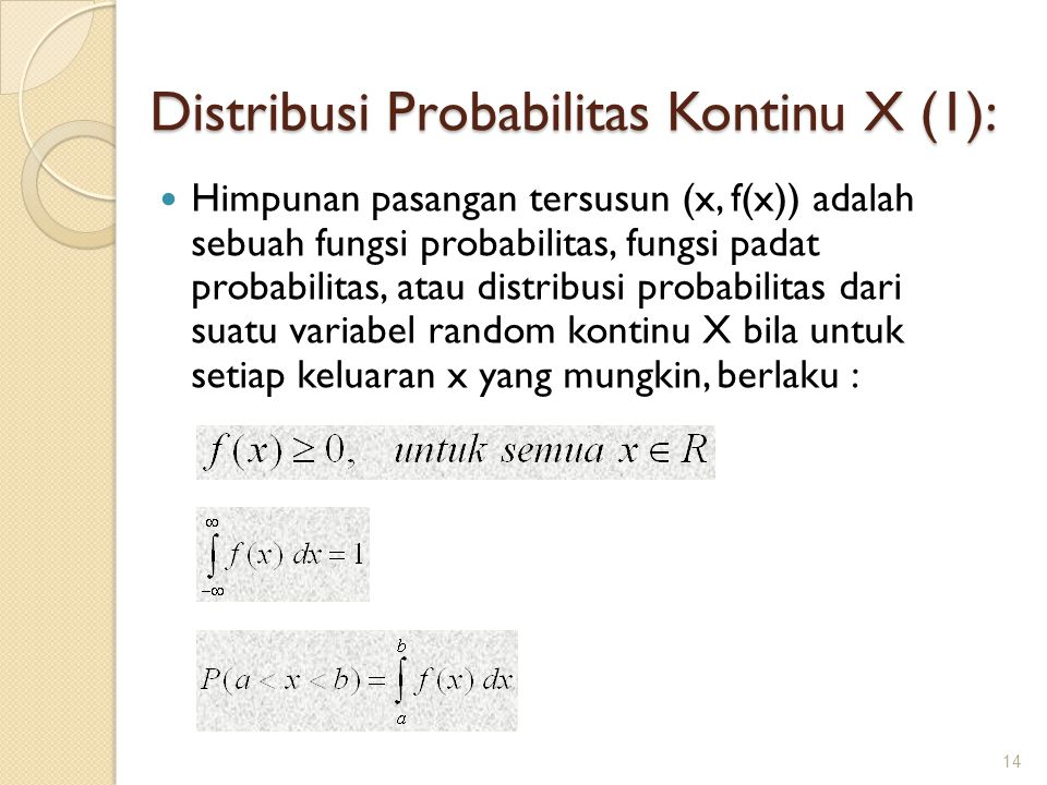 Distribusi Probabilitas Kontinu X (1):