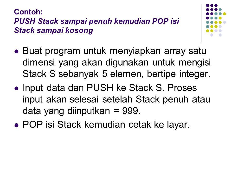 Contoh: PUSH Stack sampai penuh kemudian POP isi Stack sampai kosong