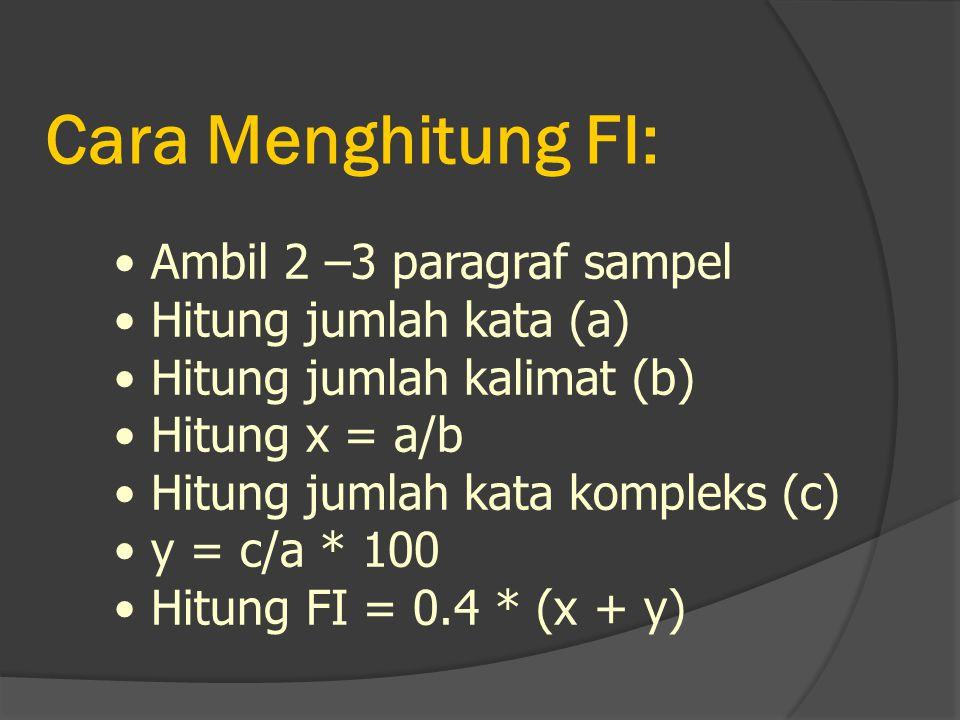 Cara Menghitung FI: Ambil 2 –3 paragraf sampel Hitung jumlah kata (a)