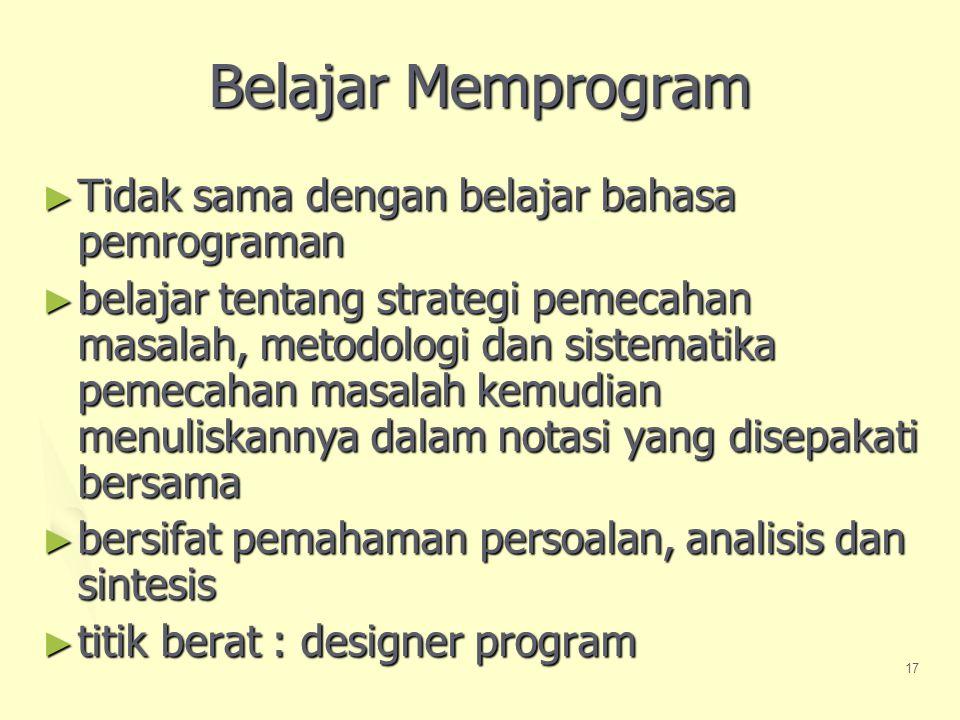 Belajar Memprogram Tidak sama dengan belajar bahasa pemrograman