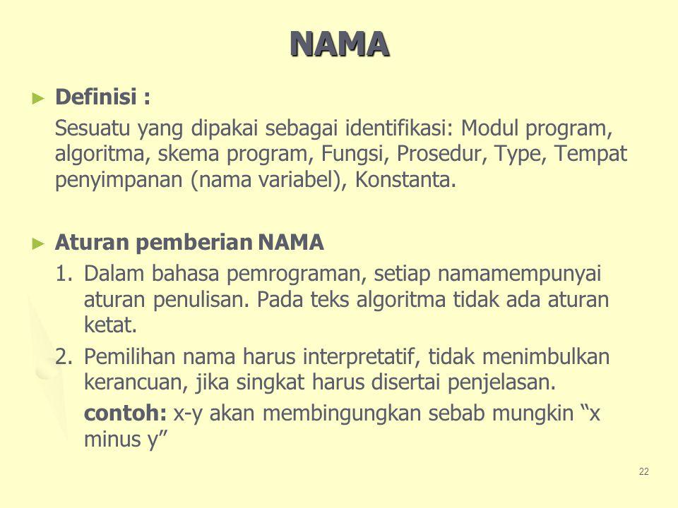 NAMA Definisi :