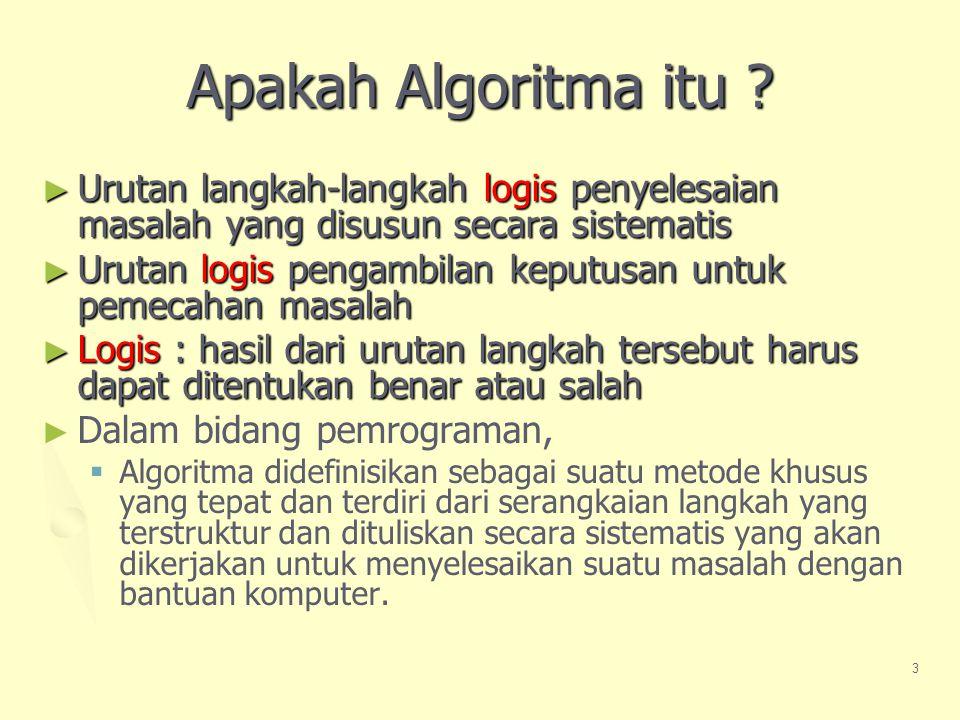 Apakah Algoritma itu Urutan langkah-langkah logis penyelesaian masalah yang disusun secara sistematis.