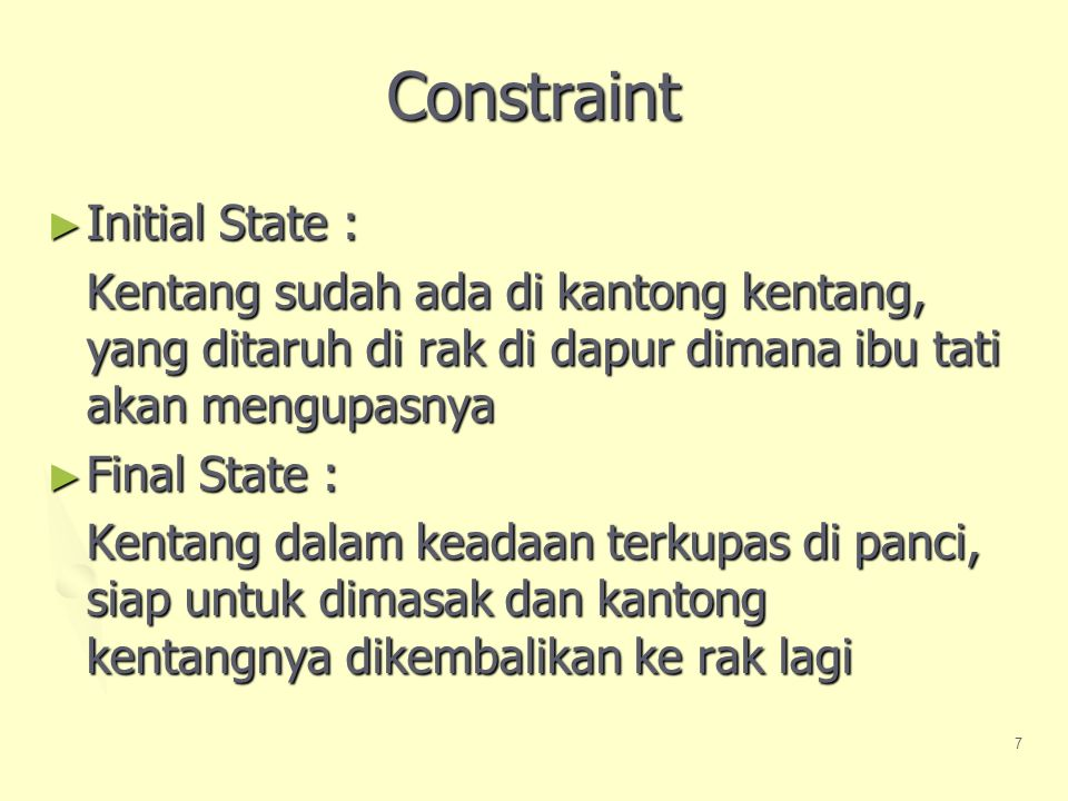 Constraint Initial State :