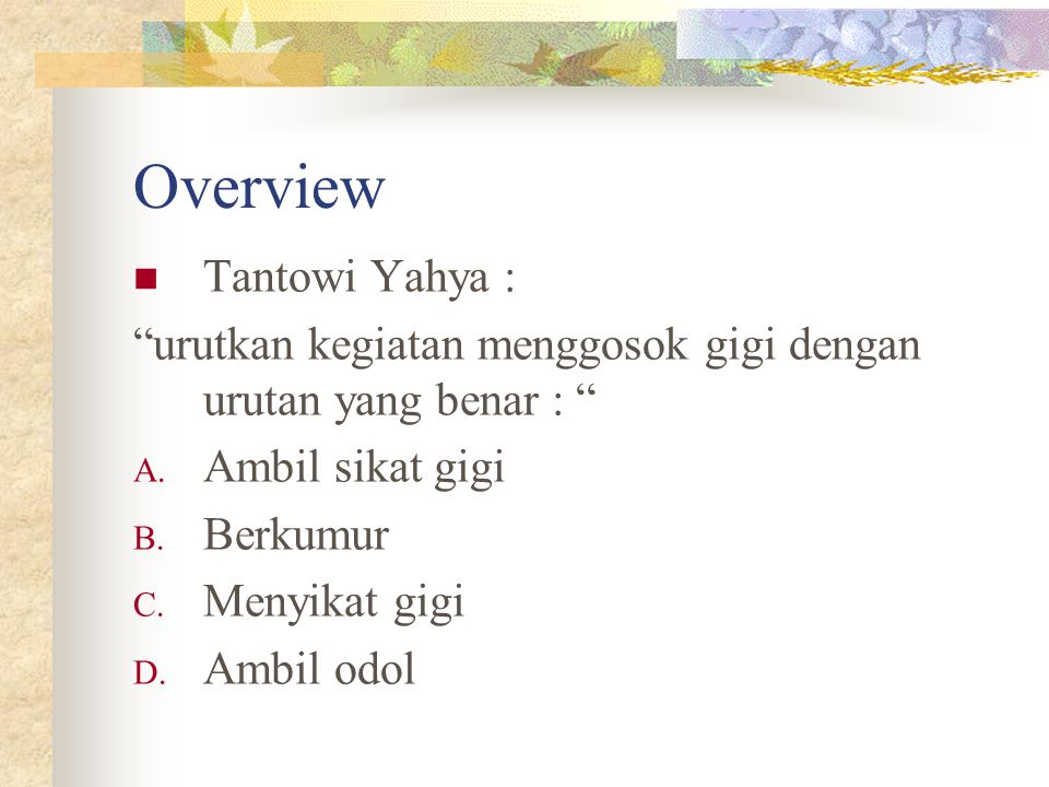 Overview Tantowi Yahya :