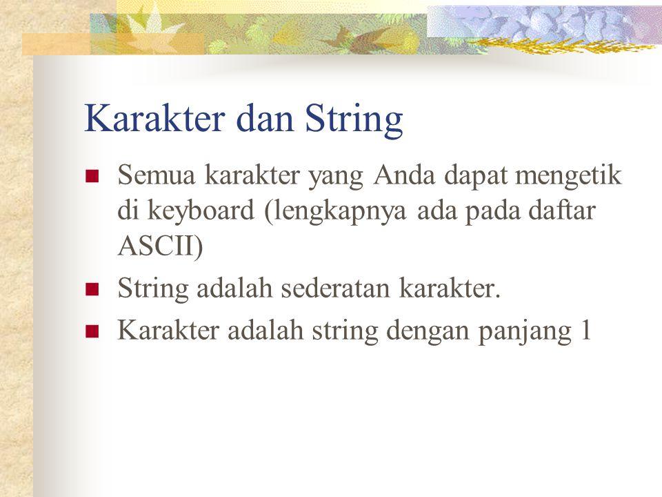 Karakter dan String Semua karakter yang Anda dapat mengetik di keyboard (lengkapnya ada pada daftar ASCII)