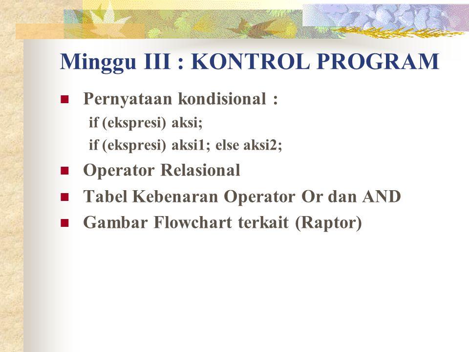Minggu III : KONTROL PROGRAM