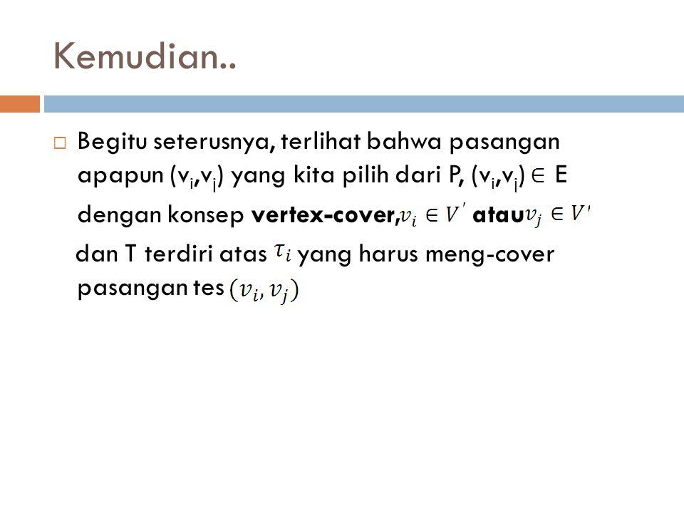 Kemudian.. Begitu seterusnya, terlihat bahwa pasangan apapun (vi,vj) yang kita pilih dari P, (vi,vj) E.