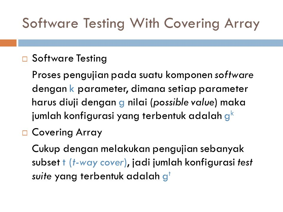 Software Testing With Covering Array