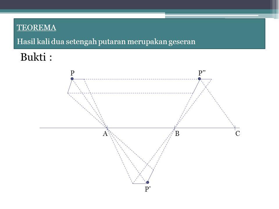 Bukti : TEOREMA Hasil kali dua setengah putaran merupakan geseran P