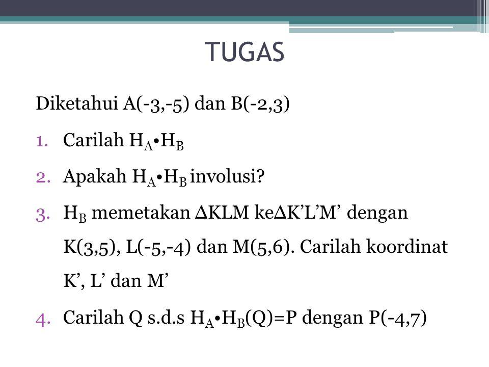 TUGAS Diketahui A(-3,-5) dan B(-2,3) Carilah HA•HB