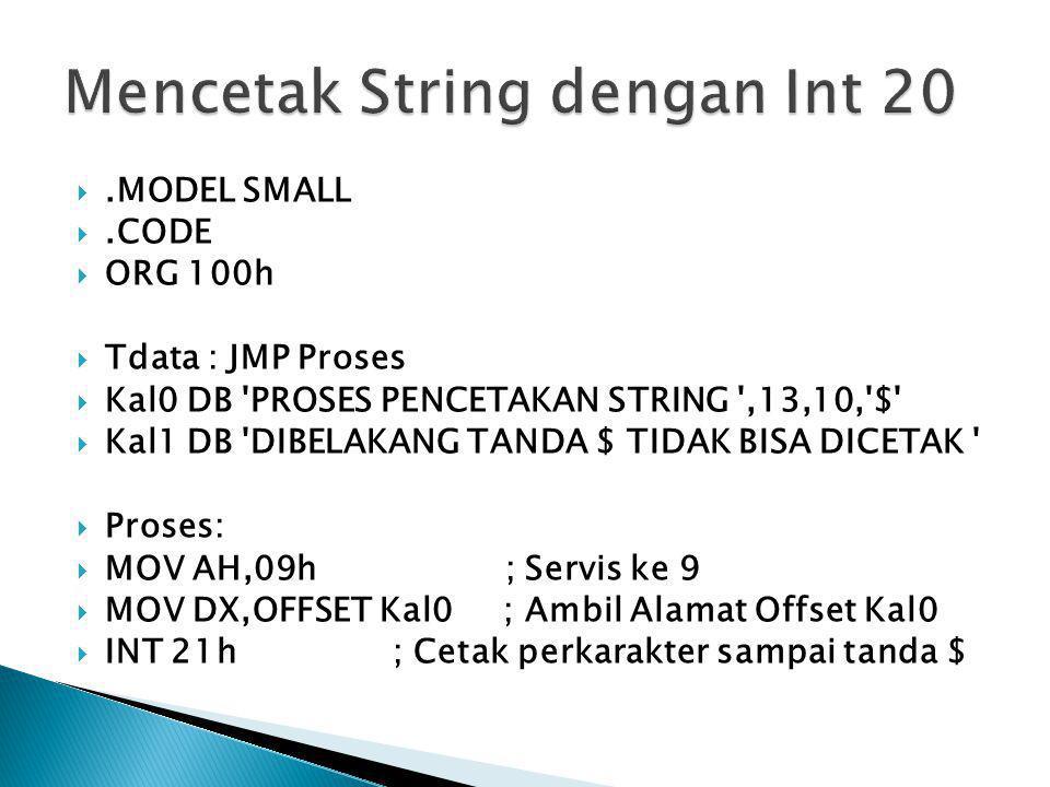 Mencetak String dengan Int 20