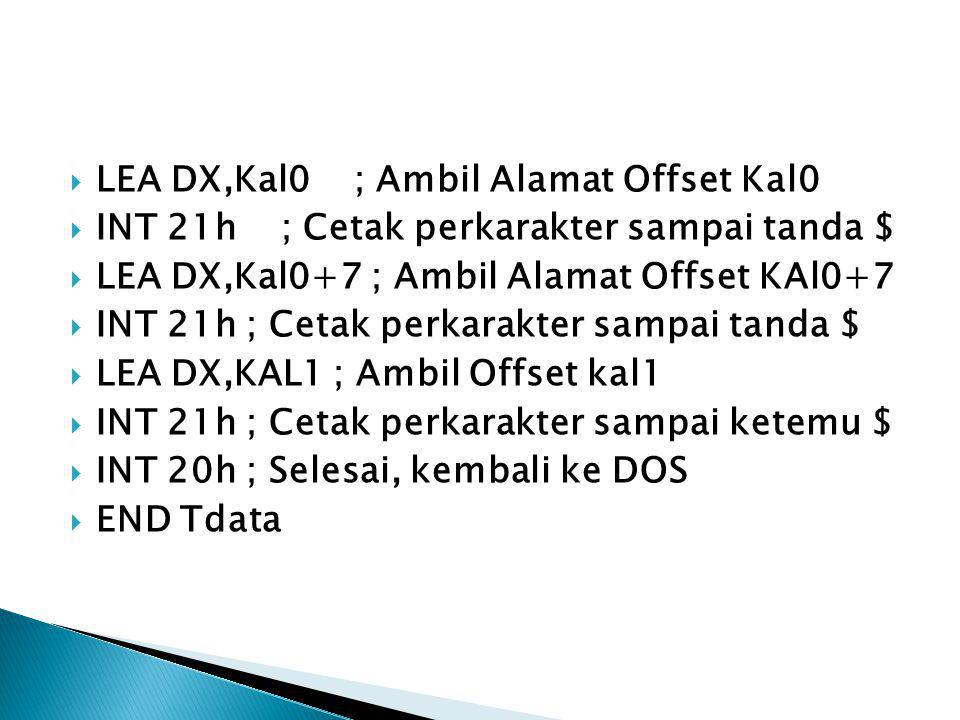 LEA DX,Kal0 ; Ambil Alamat Offset Kal0