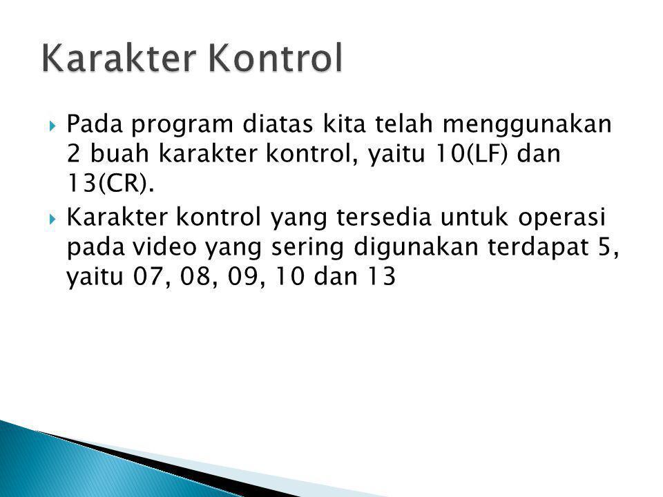 Karakter Kontrol Pada program diatas kita telah menggunakan 2 buah karakter kontrol, yaitu 10(LF) dan 13(CR).