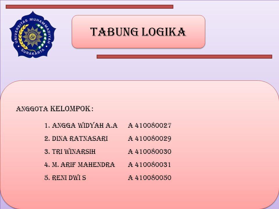 Tabung logika Anggota kelompok : 1. Angga widyah a.a a 410080027