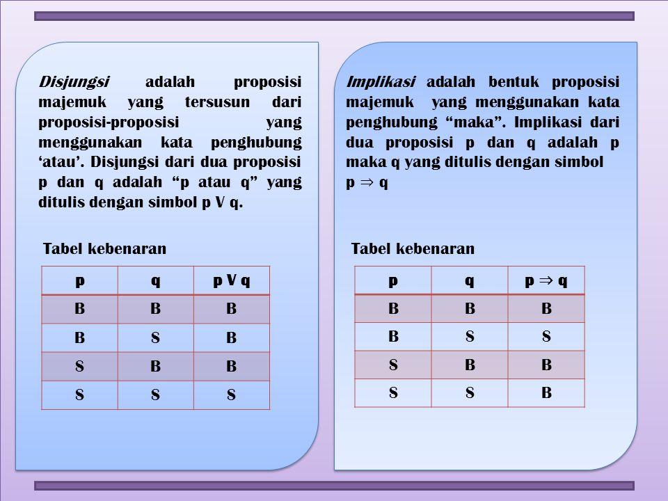 Disjungsi adalah proposisi majemuk yang tersusun dari proposisi-proposisi yang menggunakan kata penghubung 'atau'. Disjungsi dari dua proposisi p dan q adalah p atau q yang ditulis dengan simbol p V q.