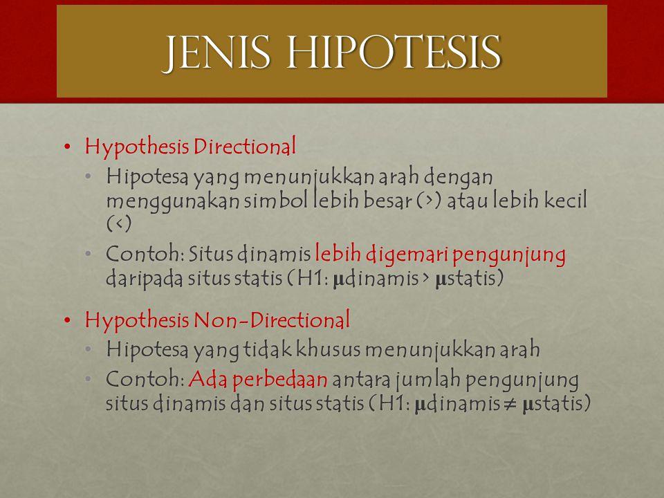 JENIS HIPOTESIS Hypothesis Directional
