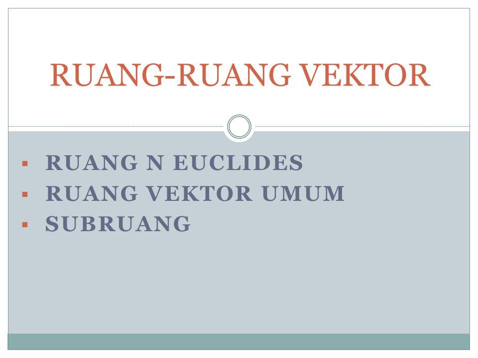 Ruang N Euclides Ruang vektor umum Subruang