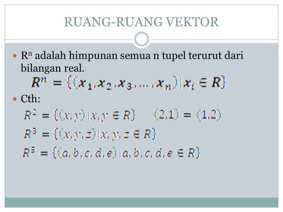 RUANG-RUANG VEKTOR Rn adalah himpunan semua n tupel terurut dari bilangan real. Cth: