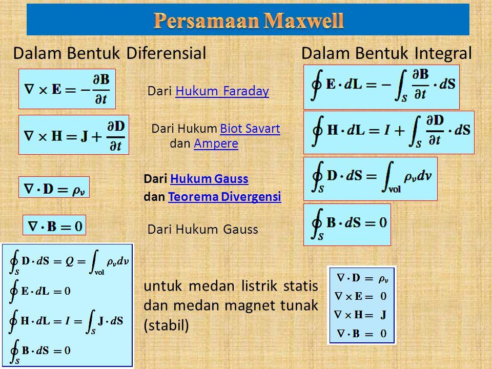 Persamaan Maxwell Dalam Bentuk Diferensial Dalam Bentuk Integral