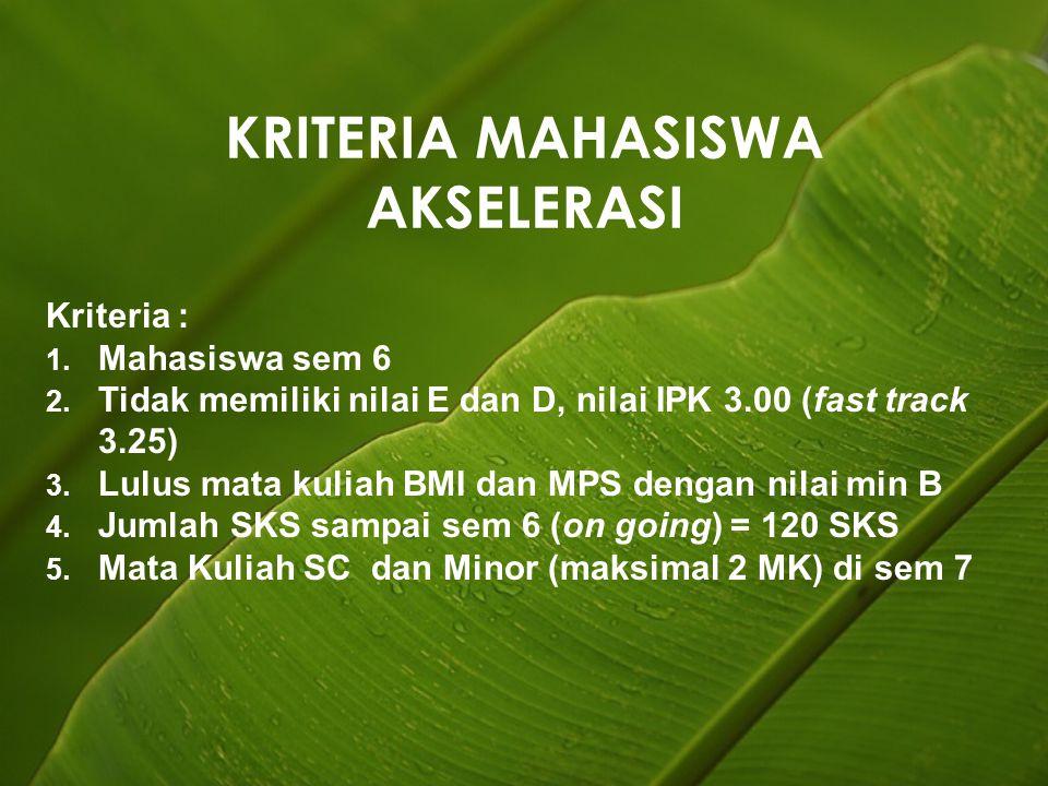 KRITERIA MAHASISWA AKSELERASI