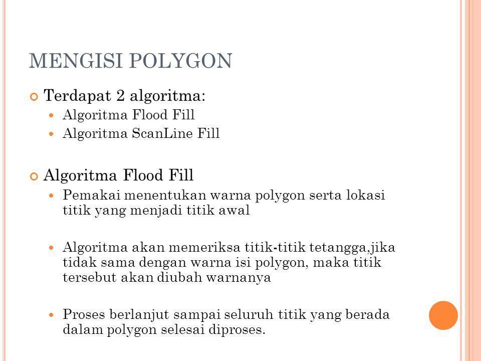 MENGISI POLYGON Terdapat 2 algoritma: Algoritma Flood Fill