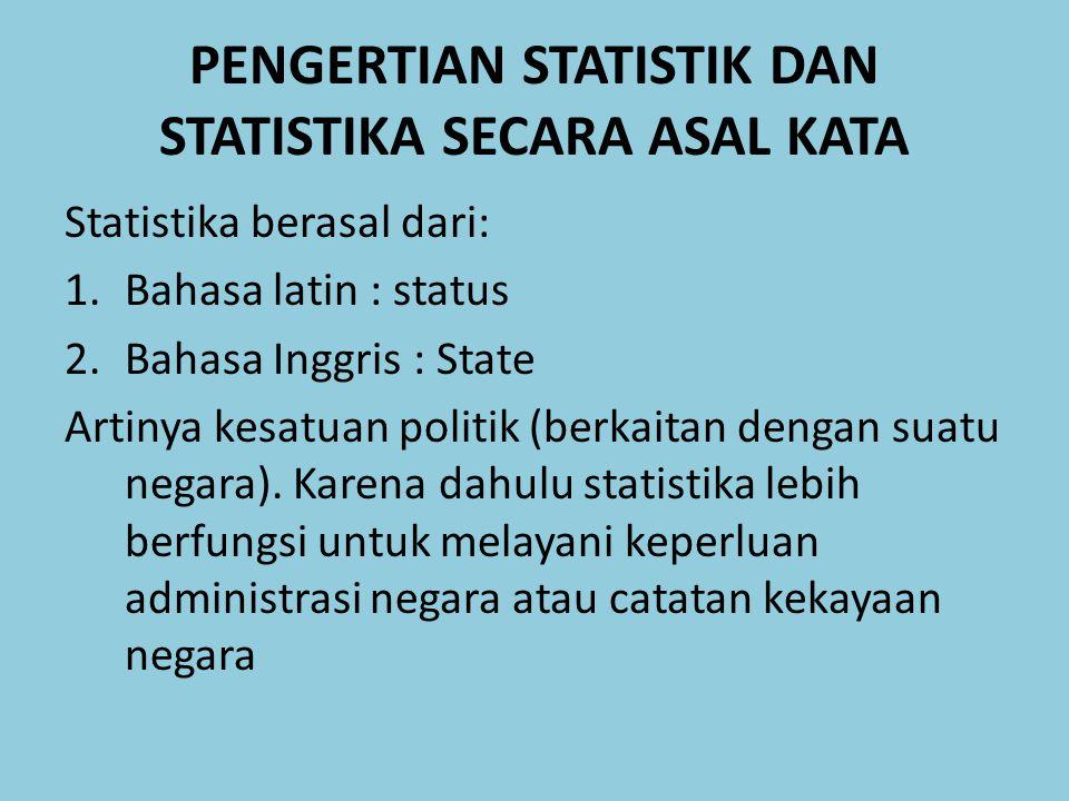 PENGERTIAN STATISTIK DAN STATISTIKA SECARA ASAL KATA