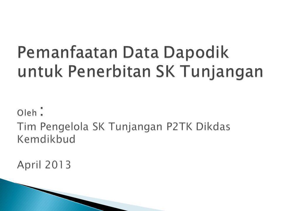 Pemanfaatan Data Dapodik untuk Penerbitan SK Tunjangan Oleh : Tim Pengelola SK Tunjangan P2TK Dikdas Kemdikbud April 2013