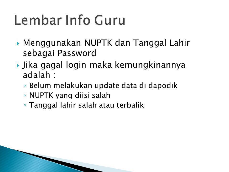 Lembar Info Guru Menggunakan NUPTK dan Tanggal Lahir sebagai Password