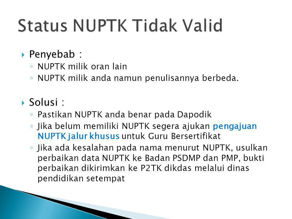 Status NUPTK Tidak Valid